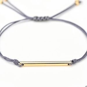 Double rope with gold tube bracelet